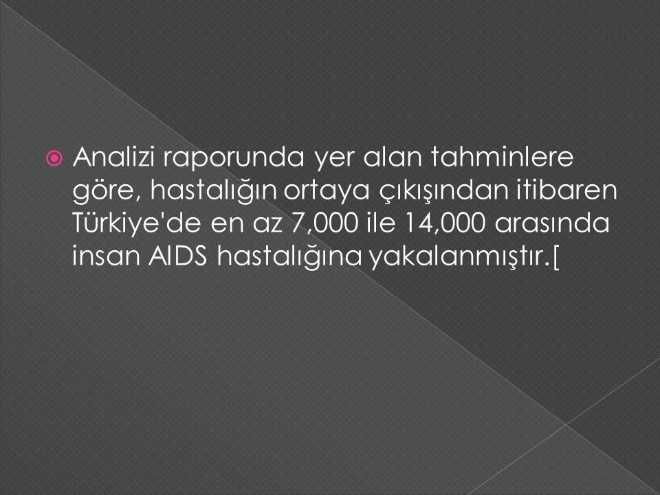 Analizi raporunda yer alan tahminlere göre, hastalığın ortaya çıkışından itibaren Türkiye de en az 7,000 ile 14,000 arasında insan AIDS hastalığına yakalanmıştır.[